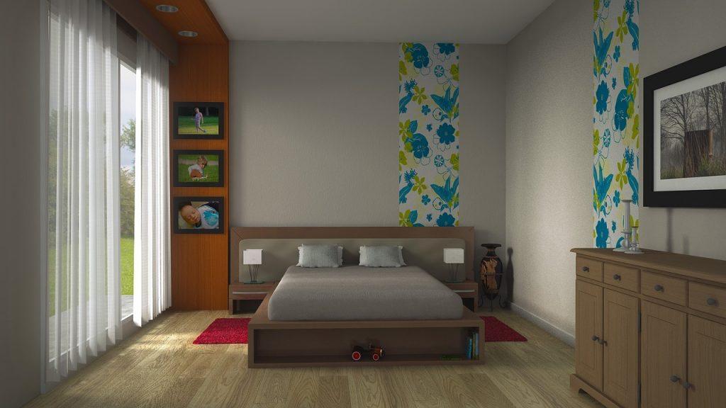 Łóżko z drewnianą ramą